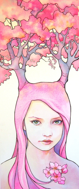 Tracy lewis     cherry blossom madness     ink and watercolor